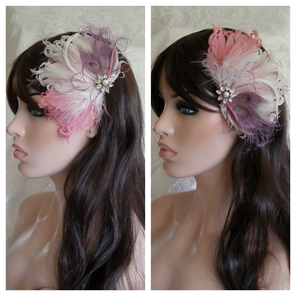 wedding feather hair accessory, feather fascinator, bridal, hair