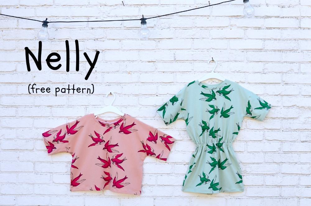 Nelly jurk en naveltruitje: een gratis patroon (maat 98 - 158)