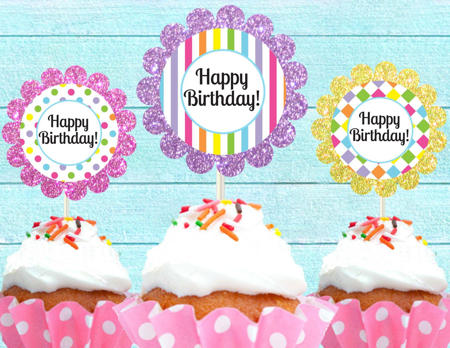 Free printable cupcake toppers happy birthday cutie putti