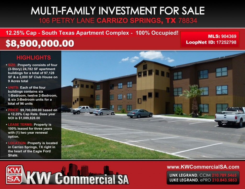 Eagle Ford Shale Apartment Complex For Sale 96 Units 12 25