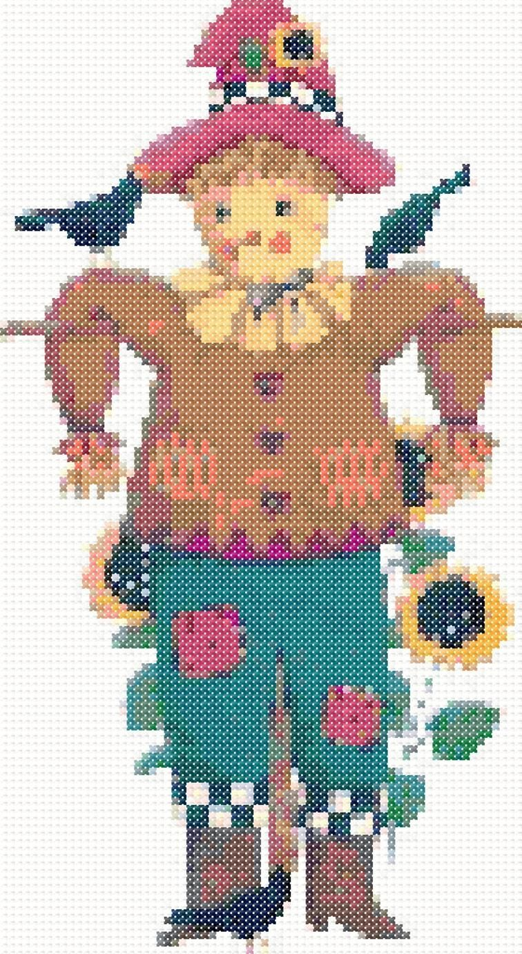 Scarecrow cross stitch machine embroidery design machine