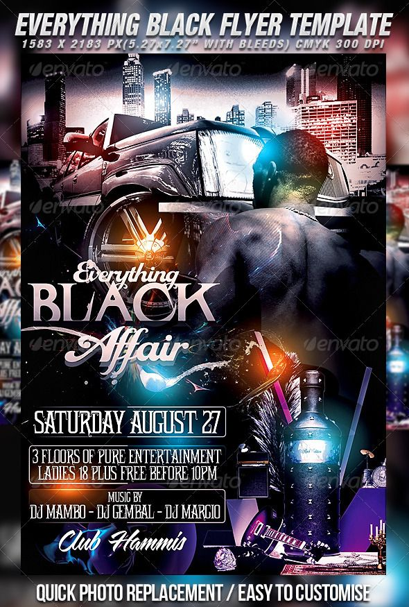 Everything Black Flyer Template  Flyer Template Party Flyer And