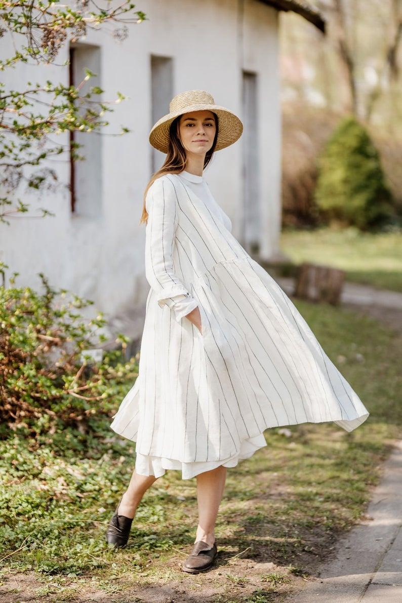 Linen Summer Dress Women Dresses Linen Clothes Marigold Etsy Linen Dresses Summer Linen Dresses White Dress [ 1191 x 794 Pixel ]