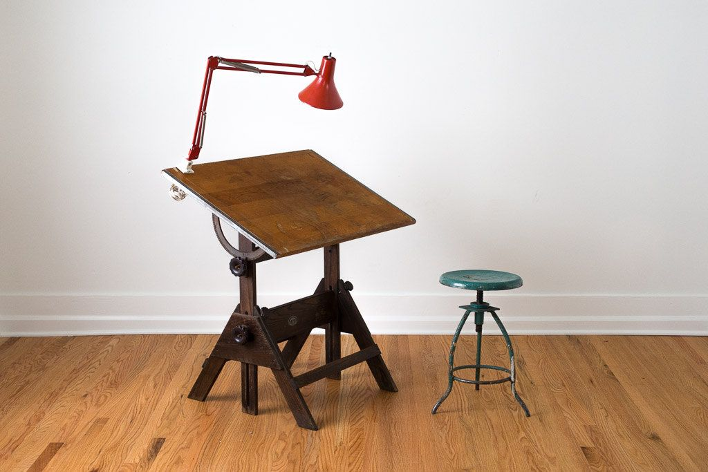 Vintage Industrial Distressed Wood Anco Bilt Drafting Table With Metal  Hardware. $595.00, Via Etsy