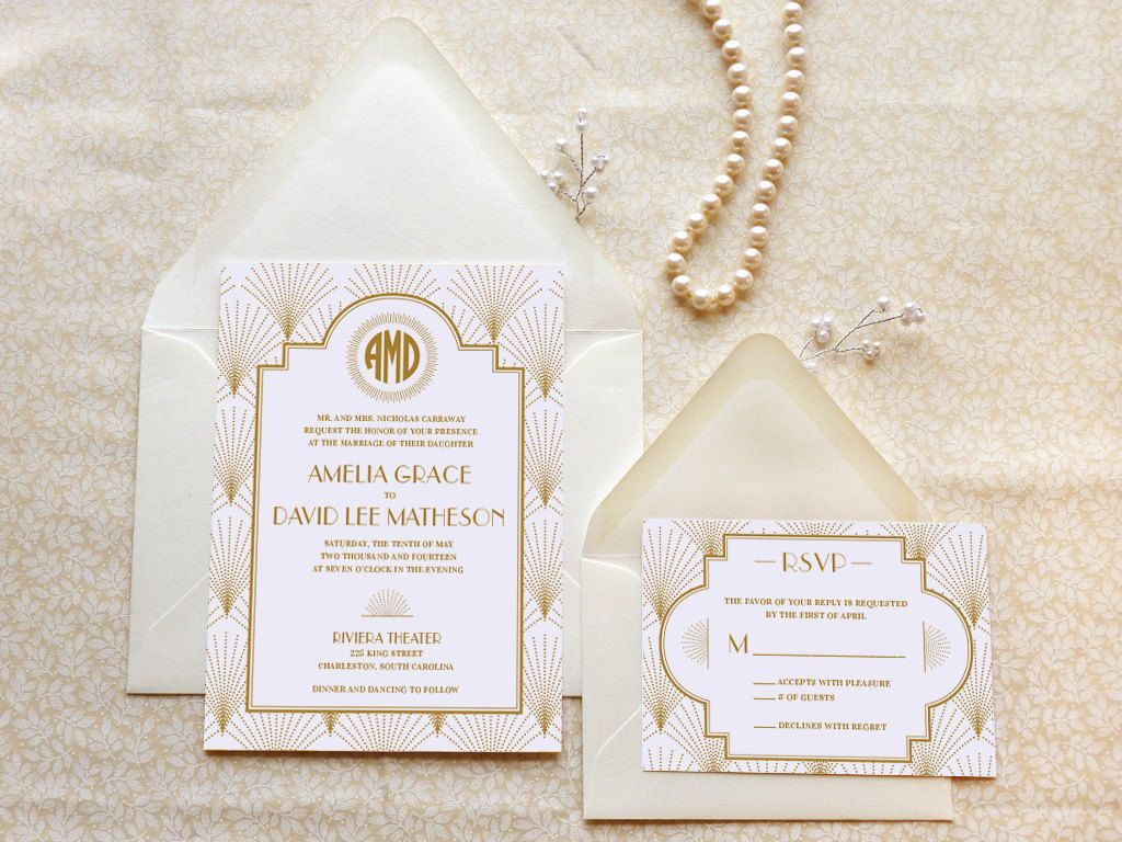 The Charleston Gatsby Wedding Invitations Art Deco Old Hollywood Monogram By Merrymint On Etsy