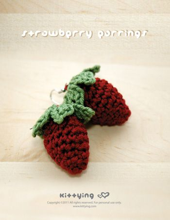 Crochet Strawberry Earrings Pattern Kittying Crochet Pattern By