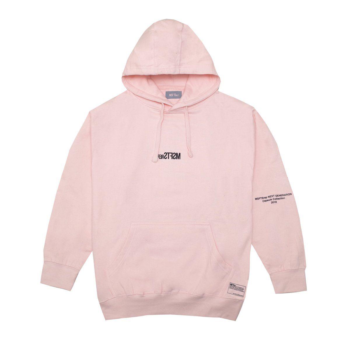 Long sleeve fleece hoodie in pink. Logo print at front ...