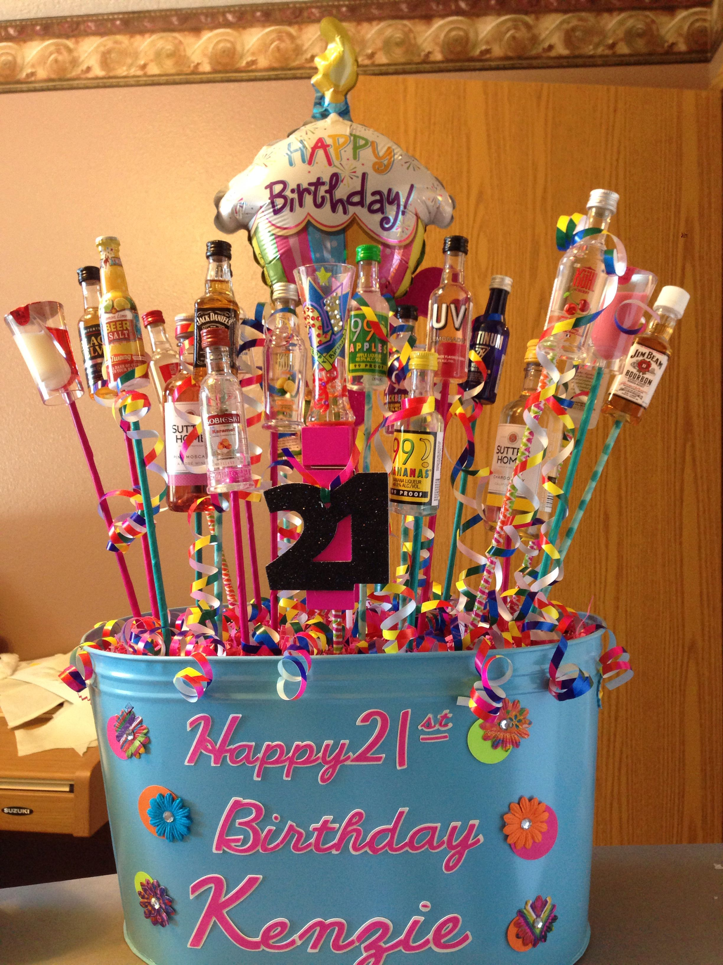 Made This For My Daughters 21st Birthday 21 Different Bottles Of Beverages With A Shot Glass