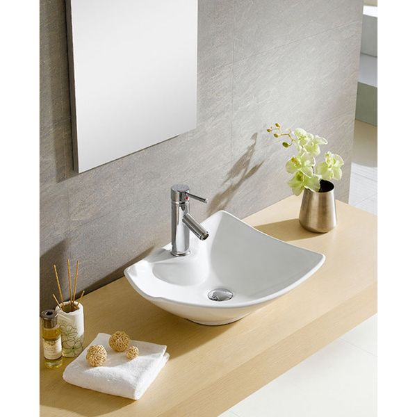 Somette Fine Fixtures White Vitreous China Irregular Vessel Sink - Vessel Sinks Bathroom