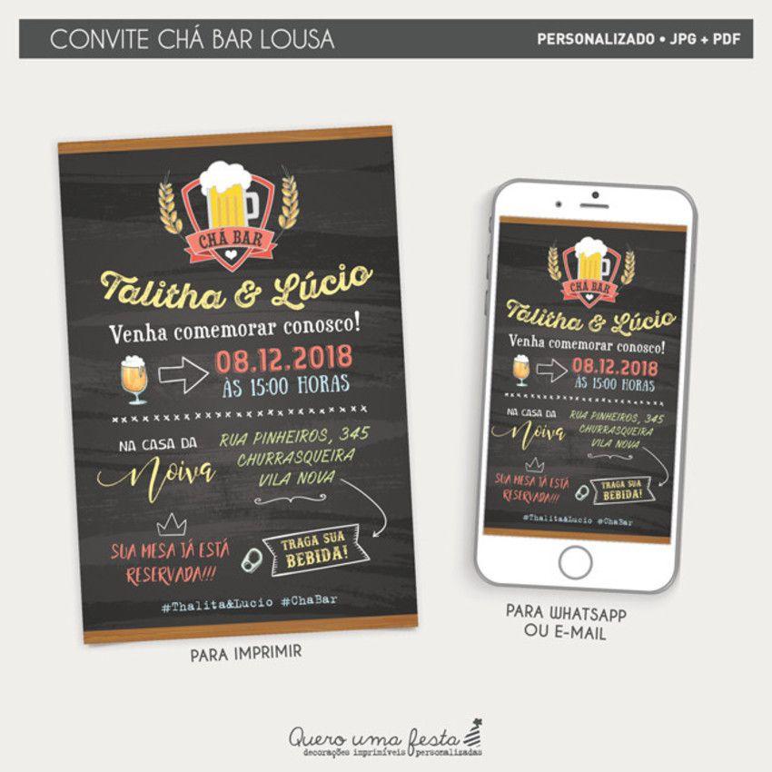 Convite Cha Bar Boteco Lousa Convite Cha Bar Boteco Convite Cha