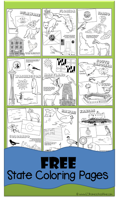 Free State Coloring Pages Homeschool, Teaching geography