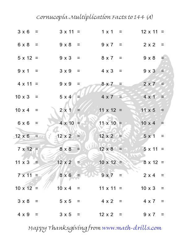 thanksgiving math worksheet  cornucopia multiplication facts to  thanksgiving math worksheet  cornucopia multiplication facts to  a