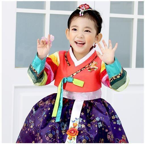 Hanbok Girl Korean traditional Dress Korea Baby 1st birthday Party Orange Purple is part of Korean Party Clothes -
