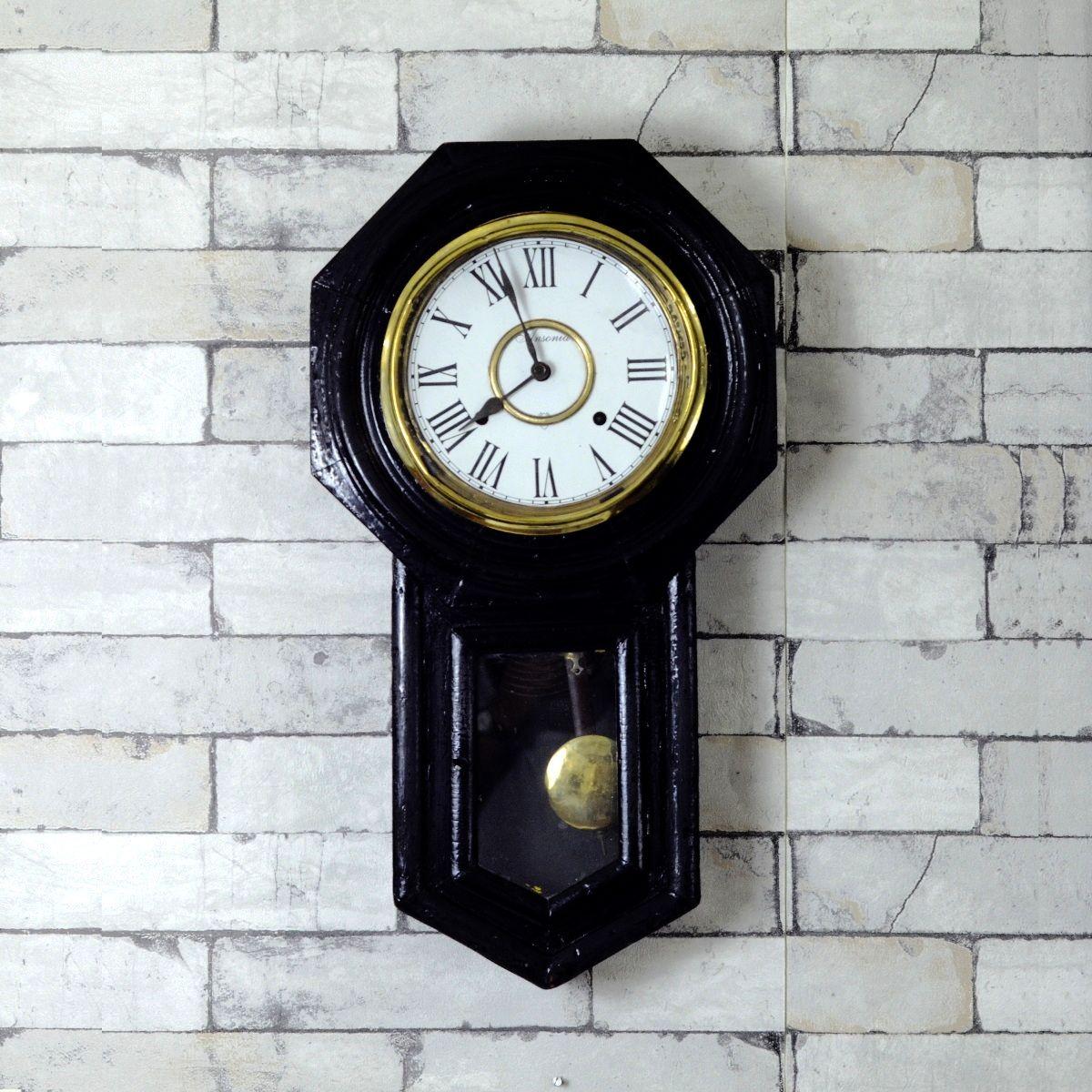 Antique Ansonia Made In Usa Bim Bam Wall Clock Antikcart Wall Clock Clock Antique Clocks