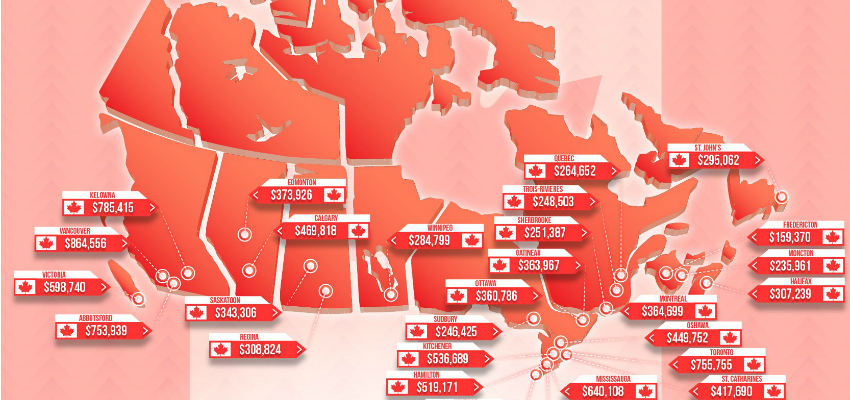 Map shows average house prices in cities across Canada