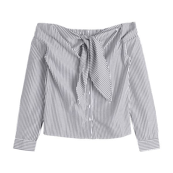 6319991b885716 Stripes Bow Tie Off Shoulder Blouse ( 15) ❤ liked on Polyvore featuring tops
