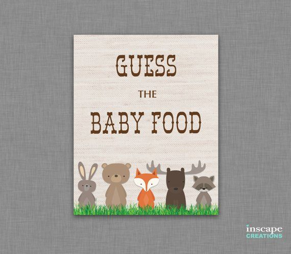 Woodland Guess The Baby Food Game Printable Rustic Country
