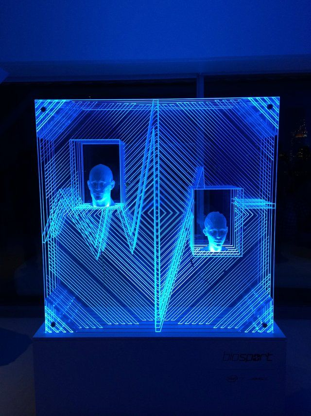 cnc etched acrylic edge lit with led strips and blue gels low poly 3d printed heads bad iphone. Black Bedroom Furniture Sets. Home Design Ideas