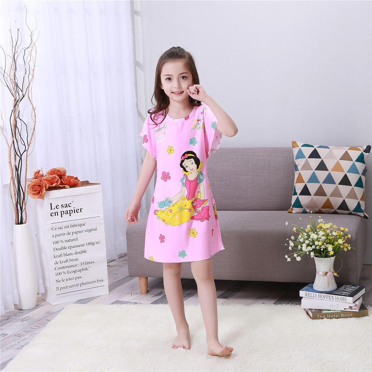 Click To Buy Children Summer Nightgown Lovely Girls Short Sleeved Nightdress Kids Home Furnishing Clothing Big Night Dress Girl Princess Dress Night Gown [ 1200 x 1200 Pixel ]