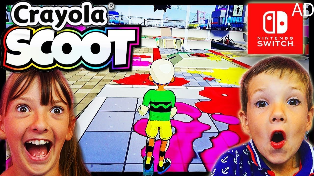 Kids Play Crayola Scoot Game On Nintendo Switch Review