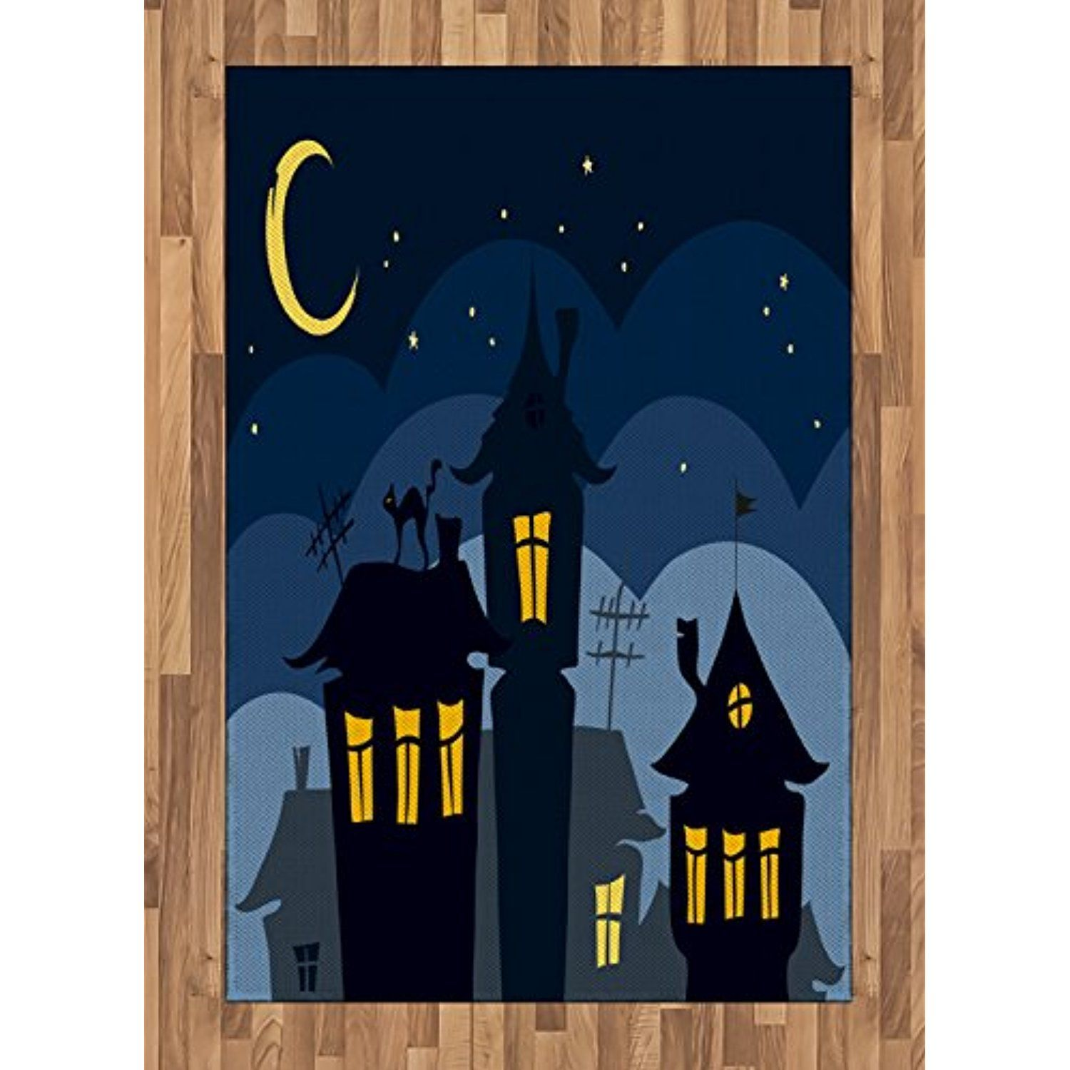 Halloween Area Rug By Ambesonne Old Town With Cat On The Roof Night Sky Moon And Stars Houses Cartoon Art Flat Wov Cartoon Art Night Sky Moon Wall Art Prints Black cat house roof stars silhouette
