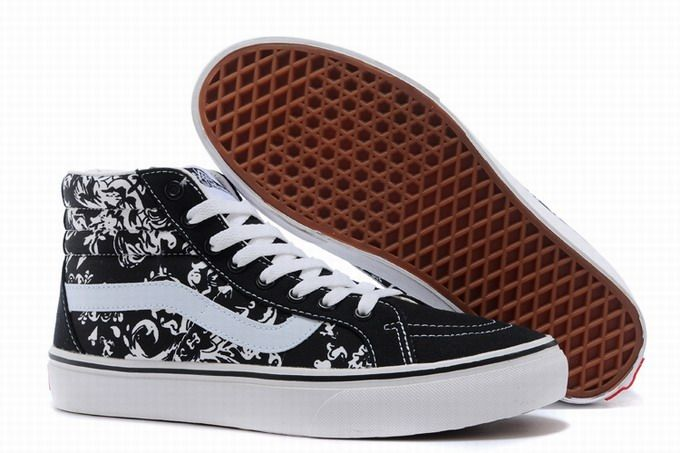 991f6662a65193 Vans SK8-Hi Floral Black White Women s Shoes  Vans