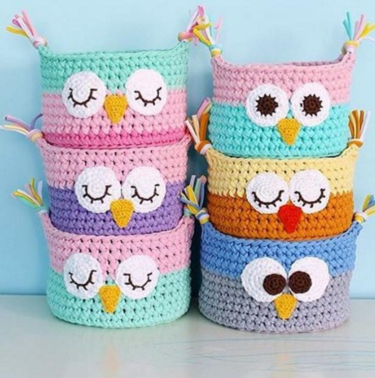 Crochet Owl Basket From TShirt Yarn