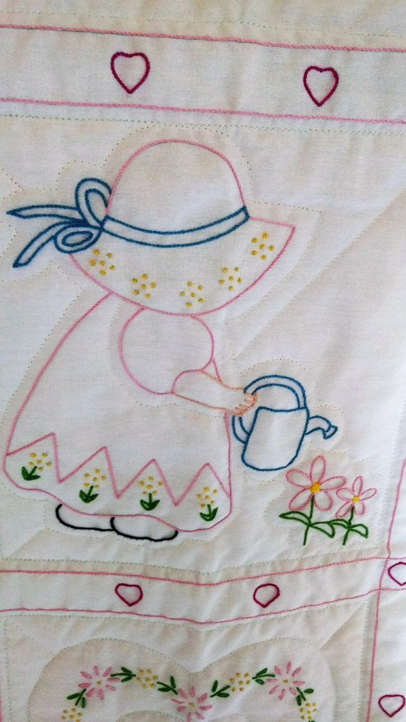 Sun Bonnet Sue Hand Embroidered Baby Quilt Fabrics For Upholstery