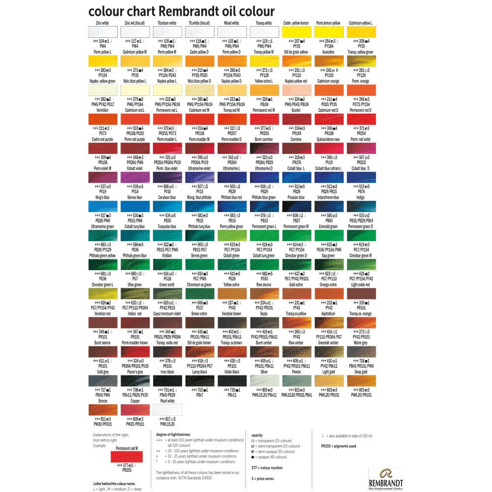 Royal Talens Rembrandt Oil Paint Printed Color Chart Colorful Oil Painting Paint Color Chart Paint Charts