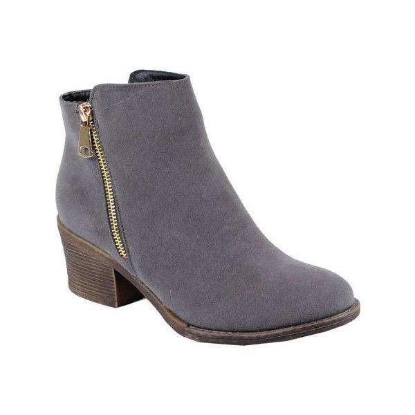 Women S Reneeze Pama 01 Stacked Heel Ankle Boot Grey Pu