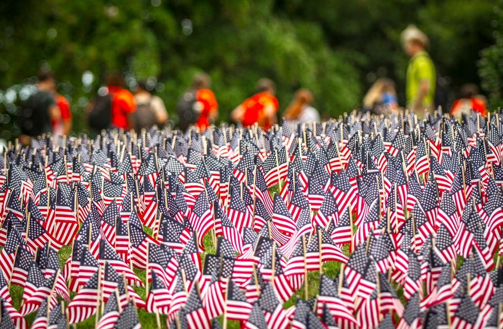 Clemson will not forget. 3,000+ flags cover Cox Plaza today to honor victims of 9-11 #NeverForget911 #September11
