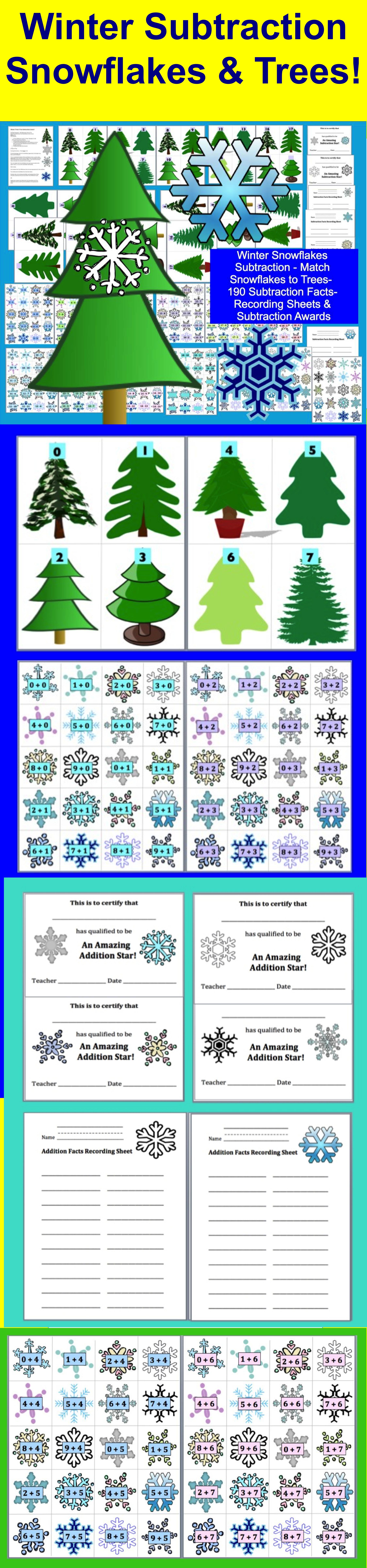 Winter Math Snowflake Matching Game