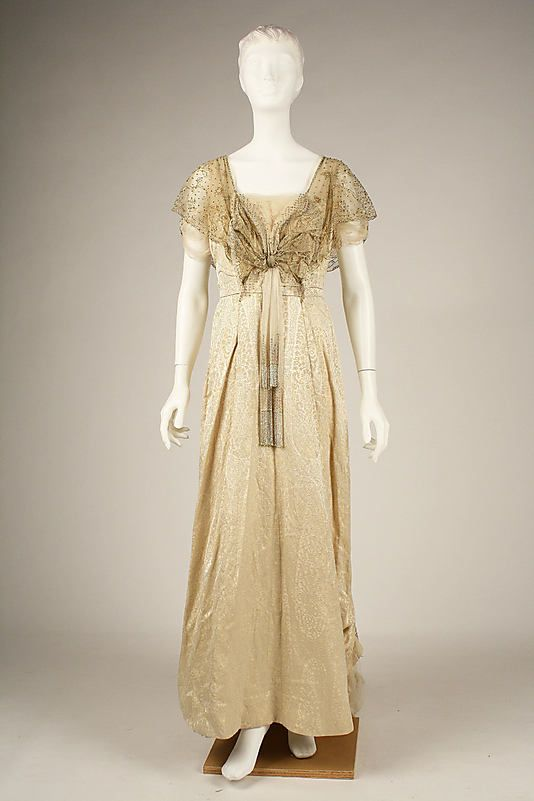 Evening dress House of Worth  Date: ca. 1913 Culture: French Medium: silk Accession Number: C.I.68.53.13
