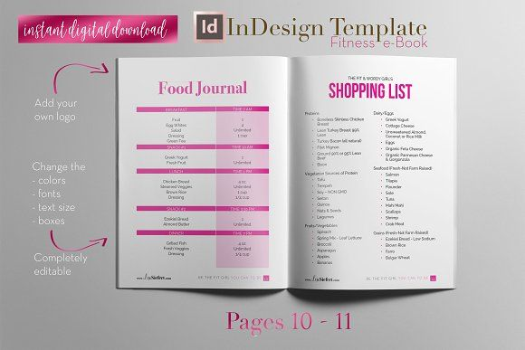 Fitness e-Book InDesign Template - food journal templates