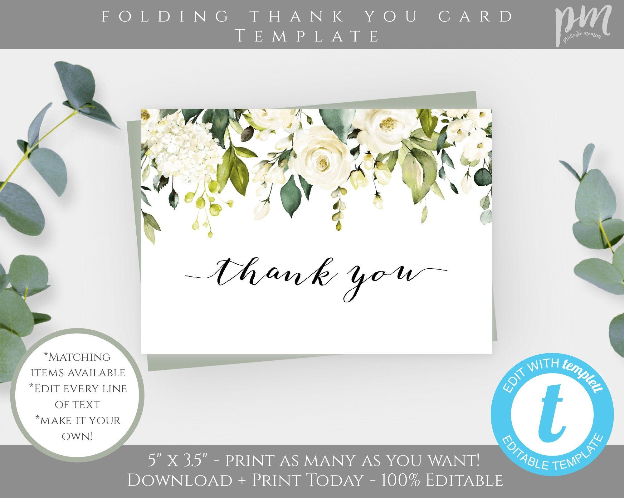 White Floral Funeral Folding Thank You Card Template Greenery