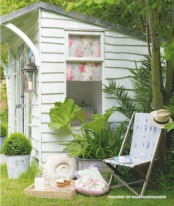 Perfect painted shed In Need Of Shed Color Ideas?! British bunting on a garden shed. A beautiful shabby chic garden shed.