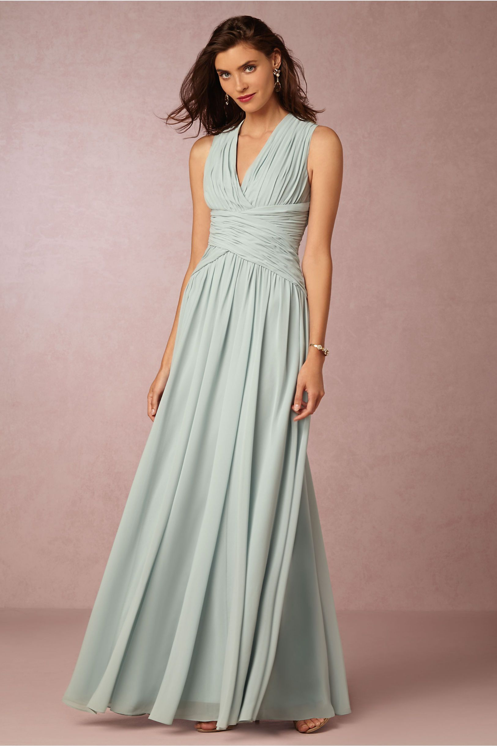 Paloma bridesmaid dresses at bhldn love color bella blue v neck criss cross pleated floor length chiffon bridesmaid dress ombrellifo Choice Image