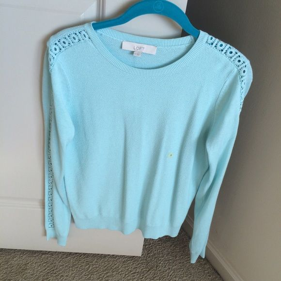 """NWT Loft Sweater NWT lightweight light blue sweater from the Loft. Has cute open design going down both sleeves. Measures about 23"""" long. LOFT Sweaters Crew & Scoop Necks"""