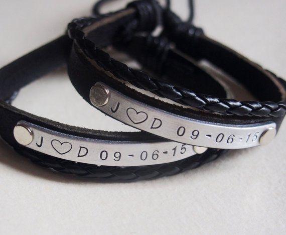 e7fb059b67b1b Couples bracelets leather, Custom relationship bracelet, cusotmized ...