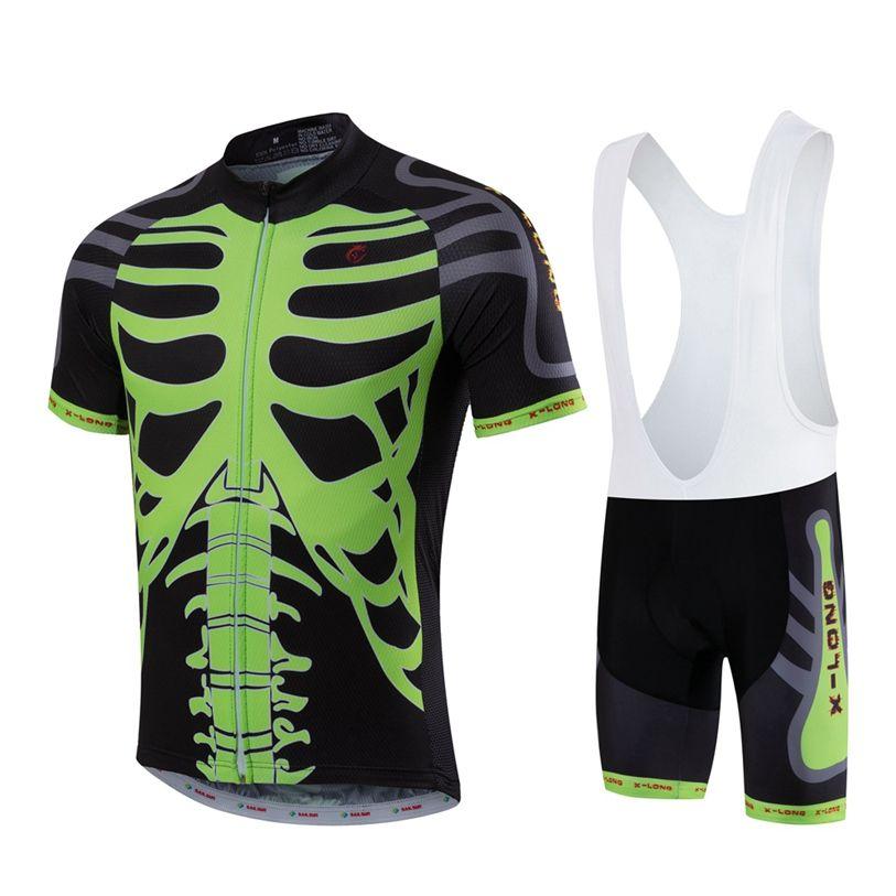 HOT SAIL SUN Men Green Skull MTB Cycling Clothing Summer bike Jersey Bib  Shorts Outdoor Sports 7e7290460