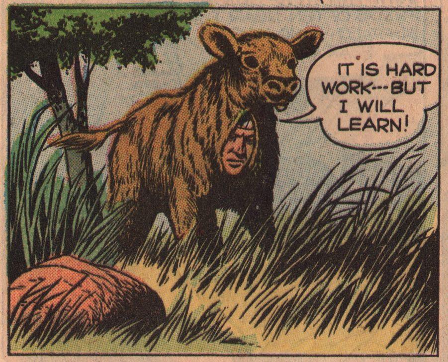 I Will Learn. from Hi-Yo, Silver #22, Dell; 1957/artist unknown. That may be Tonto doing the hard work.