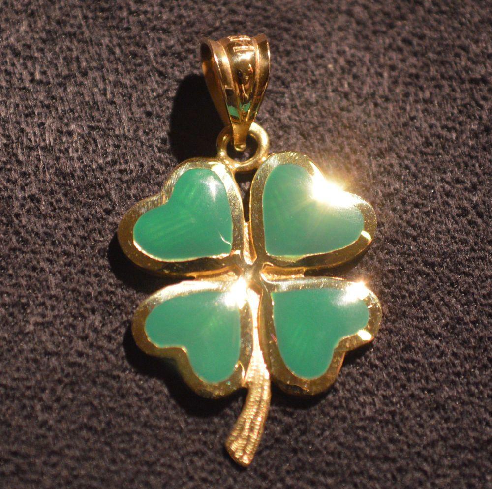 Green lucky shamrock necklace four leaf clover charm emerald green - 14k Solid Gold Green Enamel Lucky 4 Leaf Clover Irish Shamrock Necklace Pendant Pendant