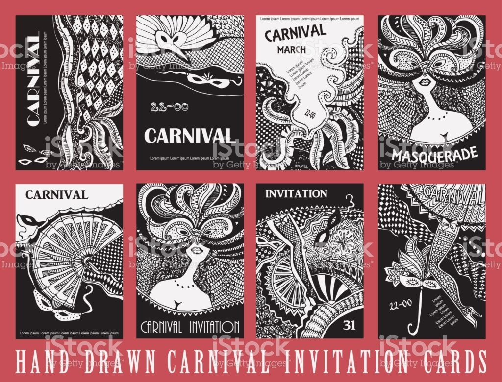 Vector set of abstract Masquerade cards. Carnival Party invitation ...