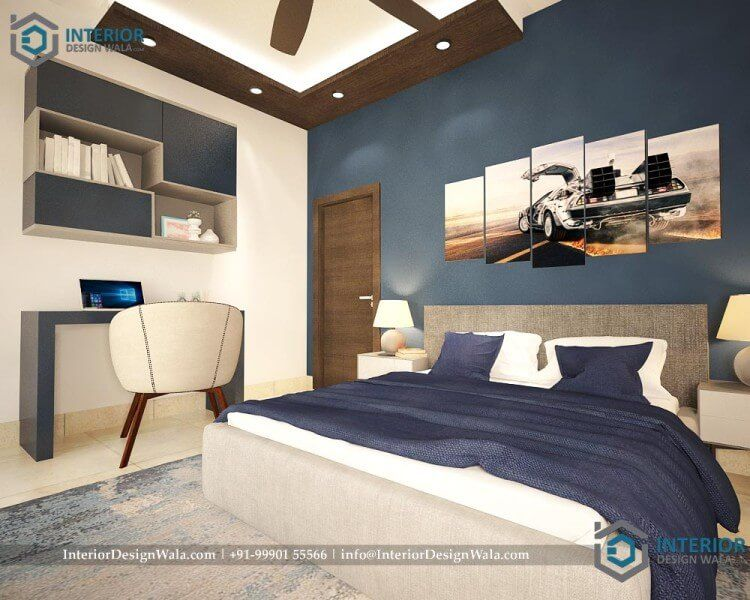 Simple_Master_bedroom_interior_with_gypsum_board_false ...