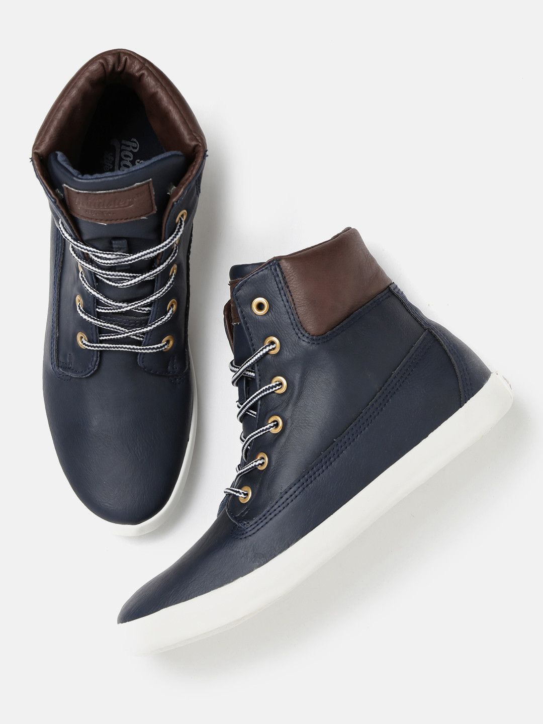 Buy Roadster Navy Blue Solid Sneakers online. Men's FootwearNavy BlueHigh TopsMen's  FashionMen's Casual ShoesGuy ...