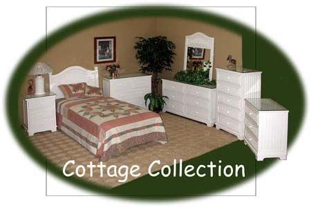 Cottage Rattan Bedroom Suite from Schober White Wicker Bedroom