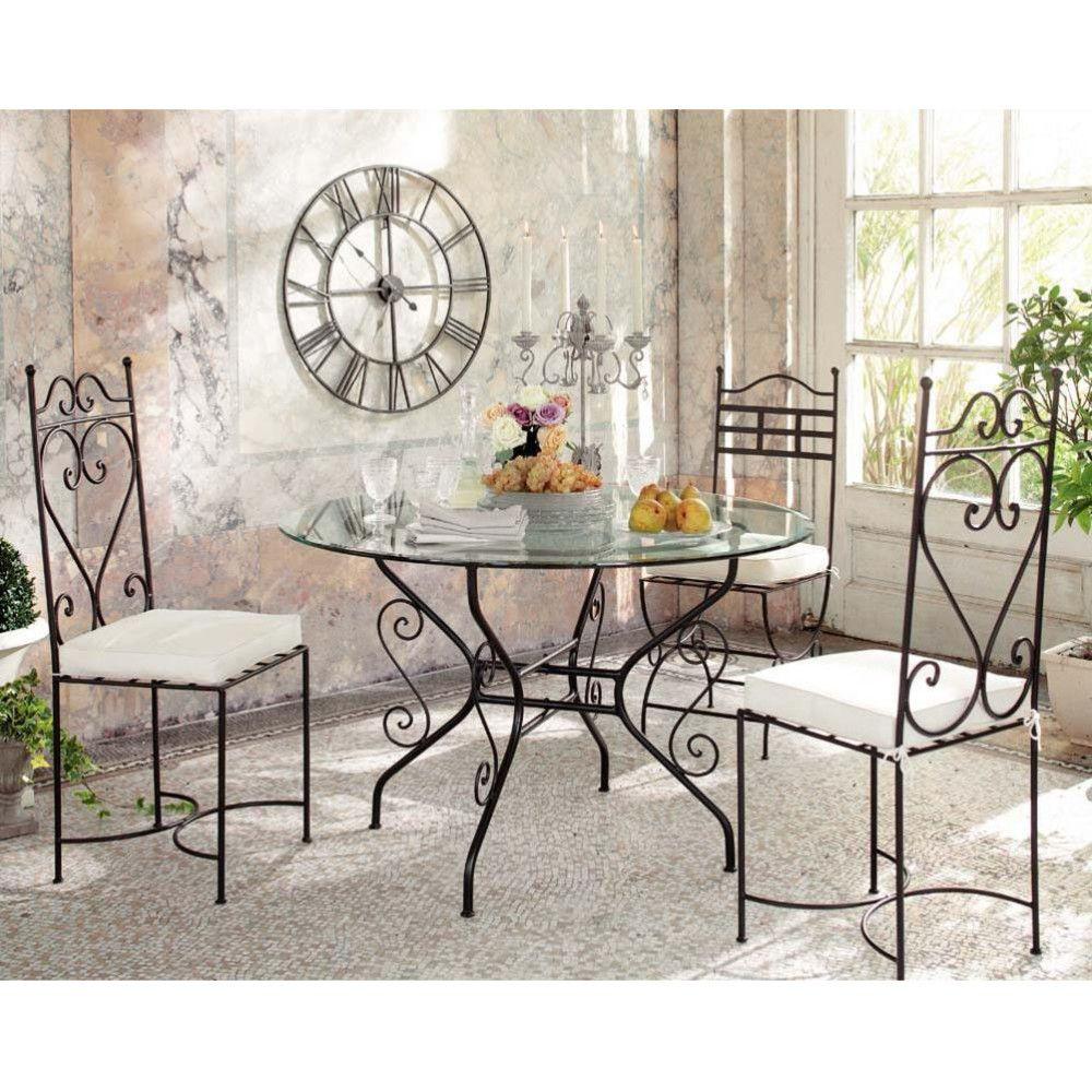 Tables et bureaux chaise fer forg chaise en - Salle a manger en fer forge et verre ...