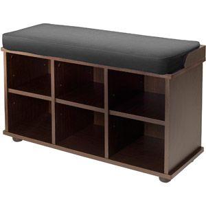 Winsome Wood Townsend Storage Bench Seat Cushion Black Espresso Walmart Com Storage Bench Bench With Shoe Storage Indoor Storage Bench