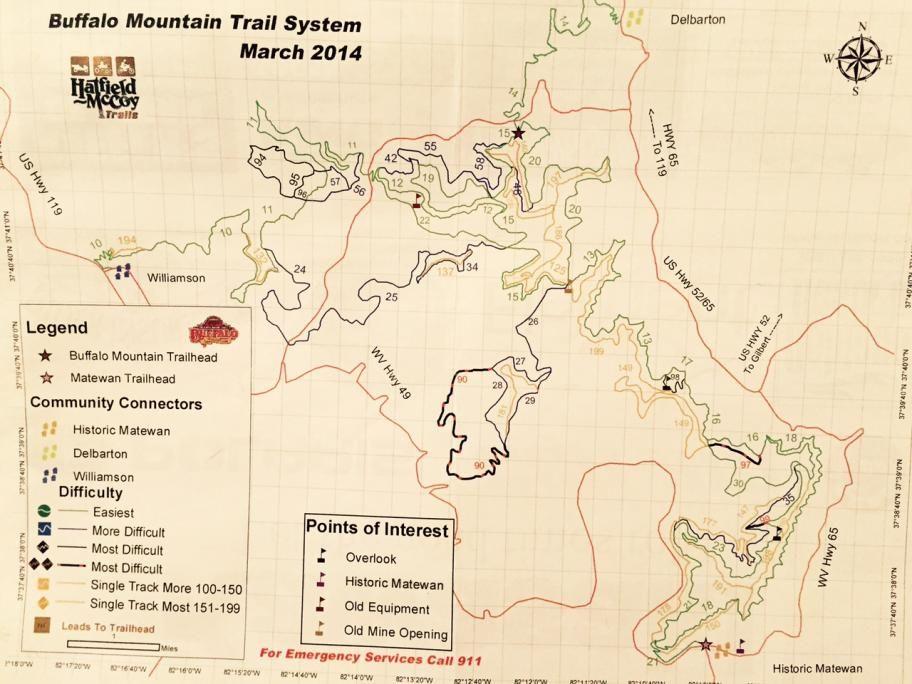 Hatfield Mccoy Buffalo Mountain Trail Mountain Trails Hatfield System Map