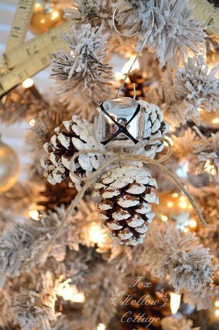 jingle bell diy pine cone christmas tree ornament craft - Homemade Pine Cone Christmas Decorations